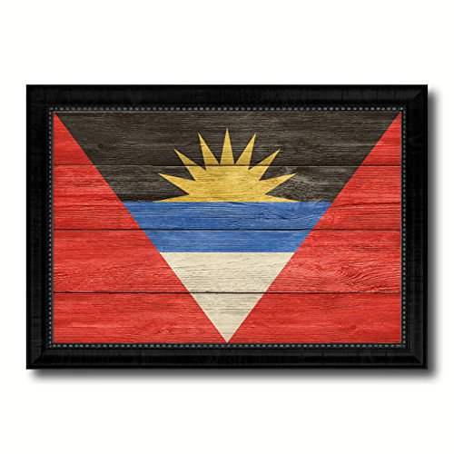 Antigua Barbuda Country Flag Texture Canvas Print, Wood Grain Black Picture Frame Gift Ideas Home Decor Wall Art Decoration