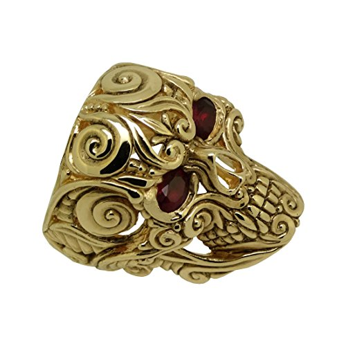 UNIQABLE Mexican Sugar Skull 14K Solid Gold Ruby Eyes Ring Biker Memento Mori SK010RBY14K