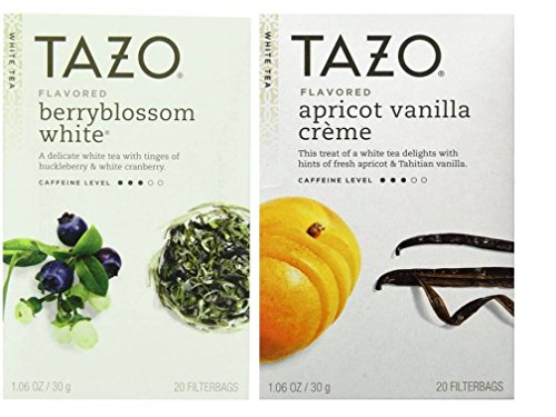 Tazo Flavored White Tea 2 Flavor Variety Bundle; (1) Tazo Berryblossom White, and (1) Tazo Apricot Vanilla Creme, 1.06 Oz. Ea.