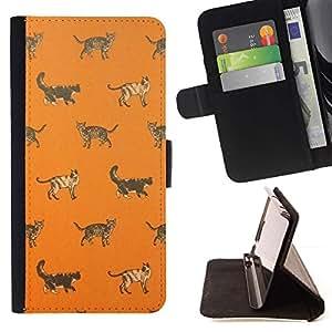 Momo Phone Case / Flip Funda de Cuero Case Cover - Orange chaton mignon Motif - Samsung Galaxy Note 4 IV