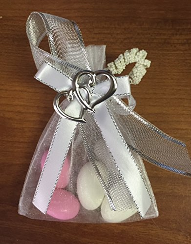 Unique Wedding Favors of Organza Bag with 5 Jordan Almonds, Personalized Ribbons & Double-Heart - set of 10 Favors - Ribbon Personalized Organza