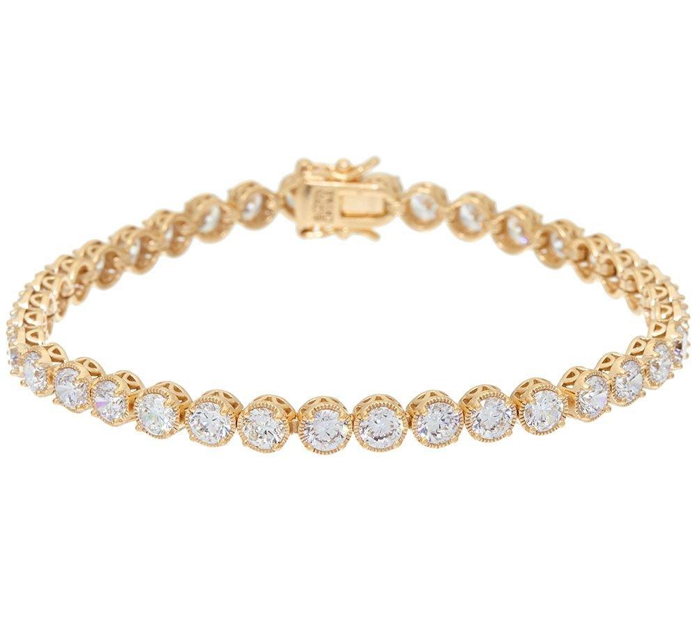 Silvernshine Jewels 9.75 Carat Prong Set D/VVS1 Diamond 14K Yellow Gold Plated Textured Tennis Bracelet by Silvernshine Jewels