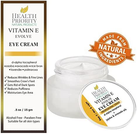 Natural Vitamin E Eye Cream for dark circles & under eyes treatment. Reduce puffy bags, remove wrinkles & fine lines & soften crow's feet. Best antiaging moisturizer cream for brightening & hydrating