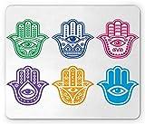 Lunarable Hamsa Mouse Pad, Evil Eye Theme Hamsa Hand of Fatima Pattern African Ethnic Religion Power Sign Print, Standard Size Rectangle Non-Slip Rubber Mousepad, Multicolor