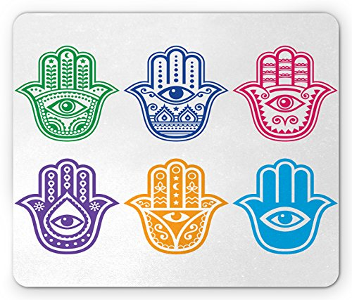 Lunarable Hamsa Mouse Pad, Evil Eye Theme Hamsa Hand of Fatima Pattern African Ethnic Religion Power Sign Print, Standard Size Rectangle Non-Slip Rubber Mousepad, Multicolor by Lunarable