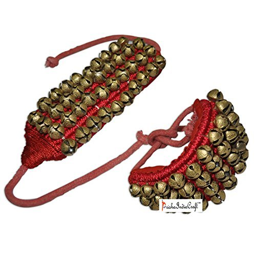 Prisha India Craft Kathak Four Line Big Bells (16 No. Ghungroo) Best quality Good Quality Ghungroo Red Pad Indian Classical Dancers Anklet Musical Instrument by Prisha India Craft