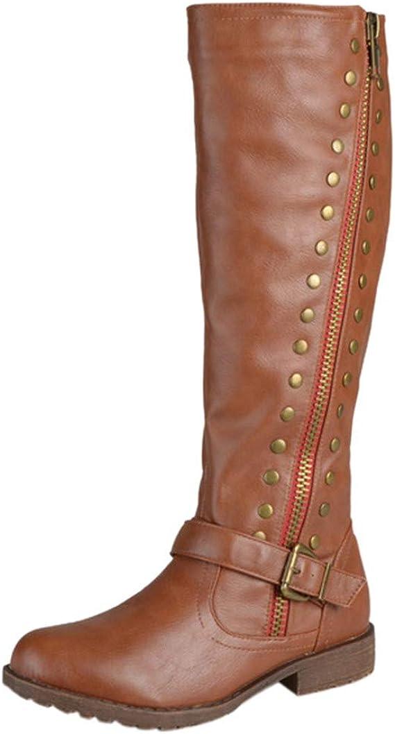 Botas Altas Mujeres Botas De Moto Mujer Botas Botines Vintage Punta Redonda Cremallera Cuero Botas Vintage Remache De Mujer, Zapatos De Tacón Cuadrado (Amarillo, EU:40/CN:42): Amazon.es: Ropa y accesorios