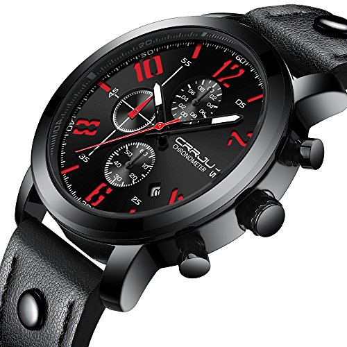 Casual Sport Watches for Men,Fashion Luxury Quartz Watch,Mens Chronograph Waterproof Wristwatch with Date Display (Black Black (Chronograph Water Resistant Wrist Watch)