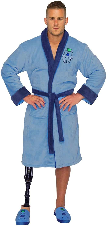 Mr Men Official Mr Grumpy Logo Mens Fleece Dressing Gown Blue