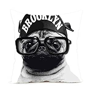CCTUSGSH Cute Dog Wearing Glasses Cotton Throw Pillow Case Cushion Cover 16 X 16 Inches One Side