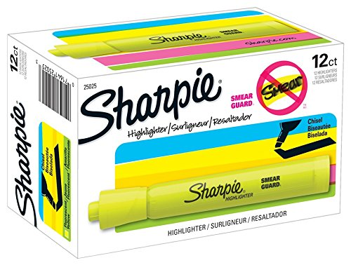 Sharpie 25025 Tank Highlighters, Chisel Tip, Fluorescent Yellow, 12-Count