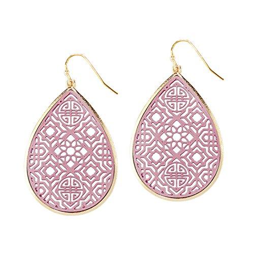 Pomina Coated Filigree Teardrop Drop Earrings (Purple)