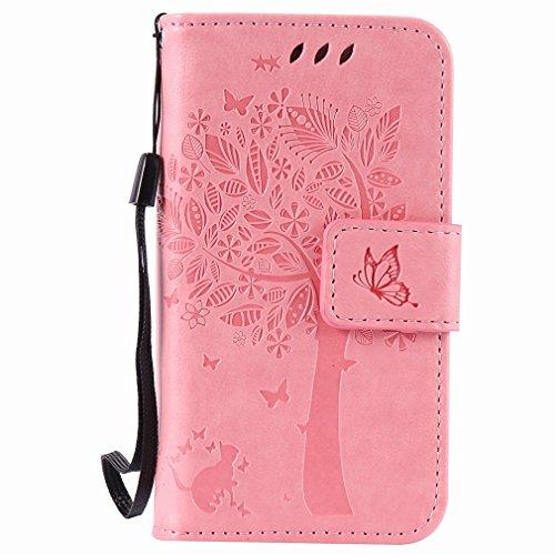 Yiizy Apple Iphone 4 4s Hülle, Baum-Muster Entwurf PU Ledertasche Klappe Beutel Tasche Leder Haut Schale Skin Schutzhülle Cover Case Stehen Kartenhalter Stil Bumper Schutz (Rosa)