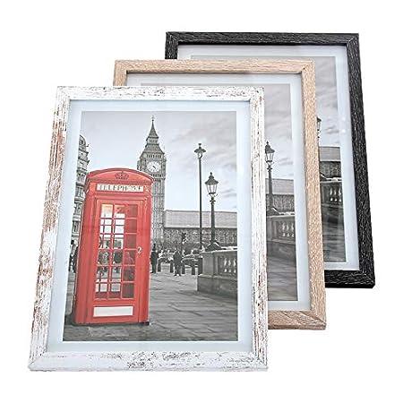 LCD 15 x 21 cm - Juego de 3 Marcos de Fotos - Marco de Fotos de Madera