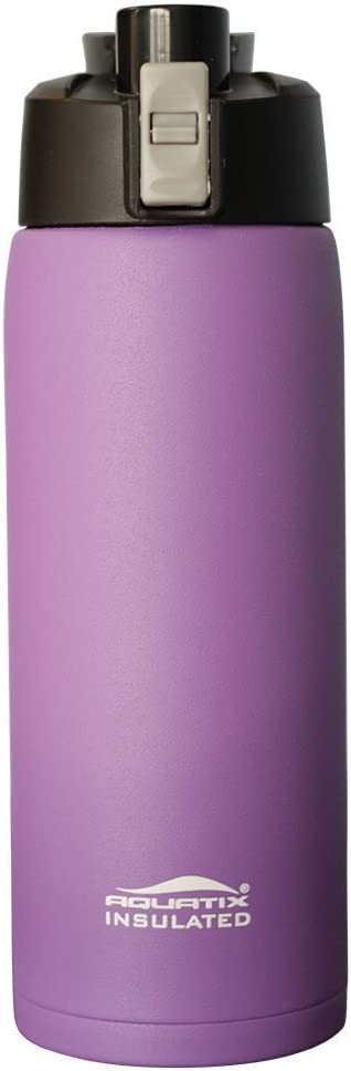 Aquatix (Purple, 21 Ounce) Pure Stainless Steel Double Wall Vacuum Insulated Sports Water Bottle with Convenient Flip Top - Keeps Drinks Cold for 24 Hours, Hot for 6 Hours