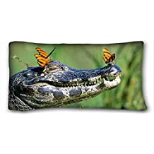Custom Cotton & Polyester Soft ( Animals crocodile Butterflies jaws teeth ) Custom Zippered Pillow Case 20x36 inches(one sides) from Surprise you suitable for Twin-bed PC-Green-16570