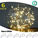 Lighting and More 20 Micro Starry LEDs Light on Thin Copper Silver Wire, 3.5-Feet (1 Meter), Warm White, 6-Pack