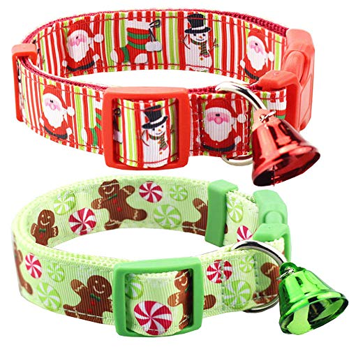 Bolbove Pack of 2 Adjustable Pet Christmas Festive Santa Bell Collars for Dogs Holiday Season (Large, Red Snowman + Light Green Sweet)