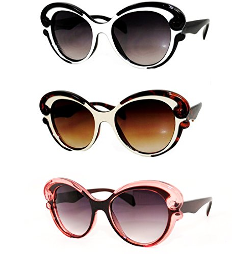 EF Oversized High Fashion Two Tone Sunglasses w/ Baroque Swirl Arms (Black&Brown&Cream)