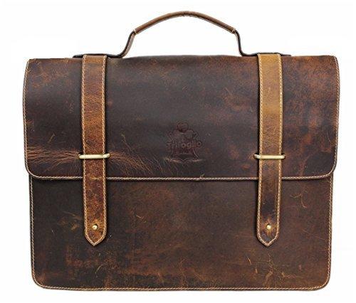 Briefcase for Men Women Leather Laptop Bag 15.6inch Satchel Large Capacity Delta