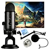 Blue Microphones Blackout Yeti with Assassin's Creed Origins Digital PC Version Plus Microphone Boom Scissor Arm Stand and Pop Filter Bundle