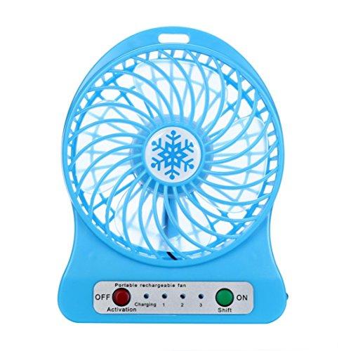 Compia Portable Rechargeable 3 Modes LED Light Fan Air Cooler Mini Desk USB 18650 Battery Fan (Blue)