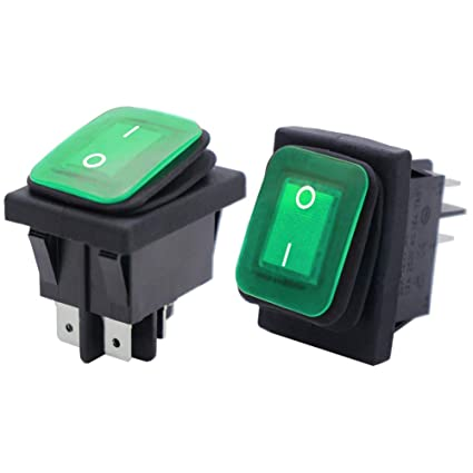Twidec//2Pcs Waterproof 16A 250V 20A 125V 4 Pins 2 Position ON//Off DPST DC12V Green LED Light Illuminated Rocker Toggle Switch Boat Or Car KCD2-201N-2-W-G