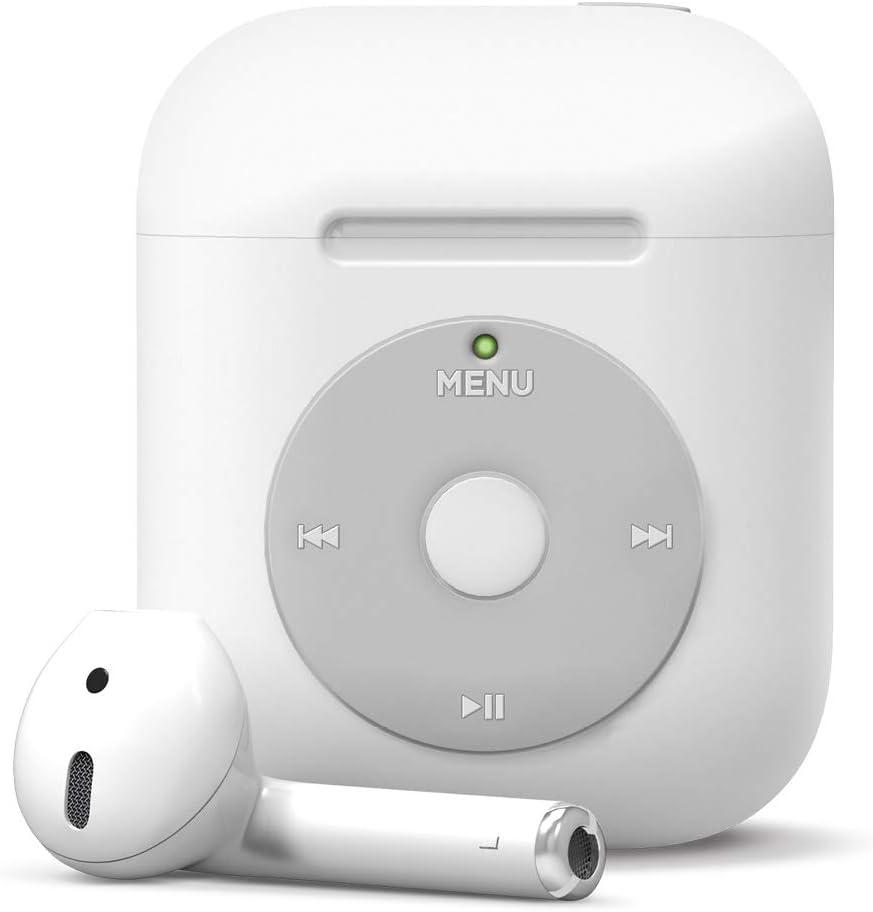 elago AW6 Funda AirPods Compatible con Apple AirPods 2 & 1 - Diseño Clásico Reproductor de Música, Protección Adicional, Soporta Carga Inalámbrica [US Patente registrada] (sin Mosquetón, Blanco)