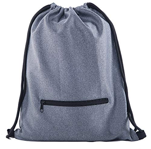 Soft Texture Drawstring Backpack - Quick Access Zipper Pocket - Charcoal Grind CA2640ZIP