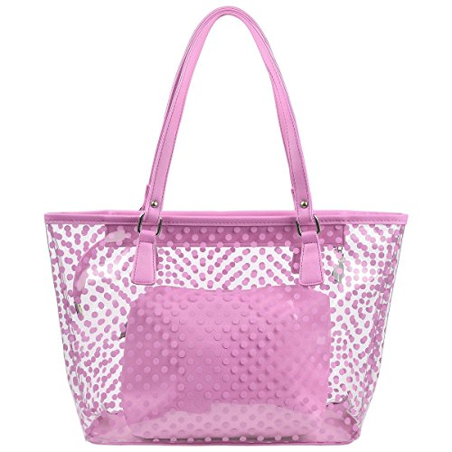 (MICOM Cute Neno Candy Color Polka Dot Clear Beach Tote Shoulder Handbag (Pink))