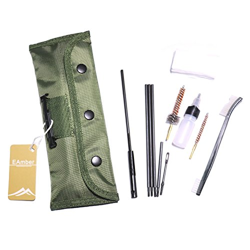 Eamber M 16 AR 15 Cleaning Kit Set Rifle Shotgun Gun Cleaning Kits Portable Clean Kit Supplies for 5.56mm/.223/.22 Cal Gun with Olive Green Bag