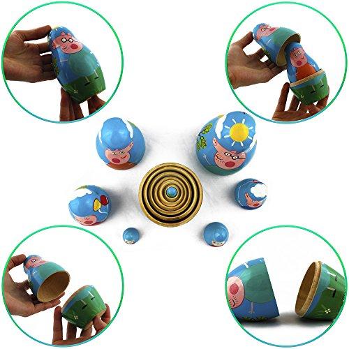 Peppa Pig Nesting Stacking Dolls Matryoshka Toys Set 7 dolls 5.3 in by MATRYOSHKA&HANDICRAFT (Image #3)