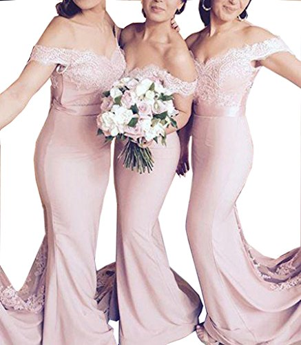 Trumpet Sweep - Off The Shoulder Sweep Train Evening Dress Pink Sleeveless Trumpet Prom Dress
