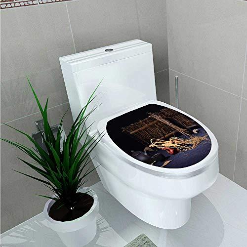 NineHuihome Decal Wall Art Decor Changbai Mountain Ginseng Bathroom Creative Toilet Cover Stickers W13 x L18 ()