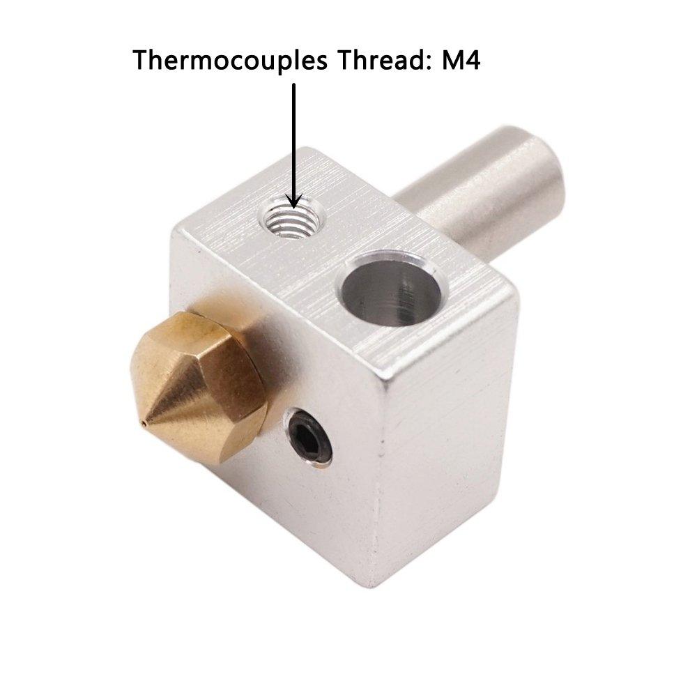 WINSINN MK10 All Metal Hotend Extruder Kit 0.4mm Nozzle Copper WINSINN Technology Ltd JCTMK10-M4 NOT Brass Stainless Steel M7 Throat Heater Block For Wanhao Ender 3 Etc