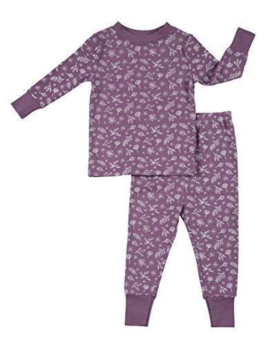 Robeez Baby Girls 2-Piece Cotton Modal Sleep Set, Mauve Botanicals, 24 Months