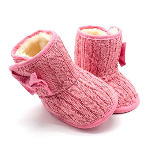 Baby Girls Winter Snow Boots with Bowknot (Red) - 7