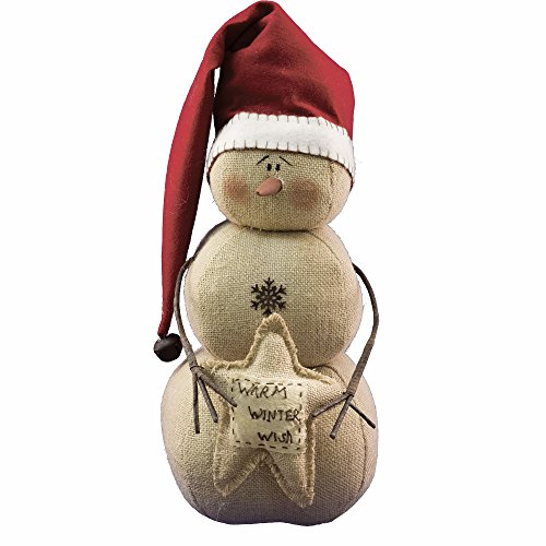 Stuffed Burlap Warm Winter Wish Snowman with Snowflake Buttons – Country Winter Christmas Gift Decor