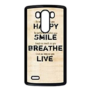 """ALLCASE """"HAPPY,SMILE BREATHE,LIVE """" Words Design LG G3 AT&T Black Protective Snap On Case with Plastic"""