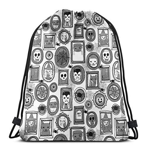 Halloween Portraits Grey Kids Baby Witches Frankenstein_6599 3D Print Drawstring Backpack Rucksack Shoulder Bags Gym Bag for Adult -