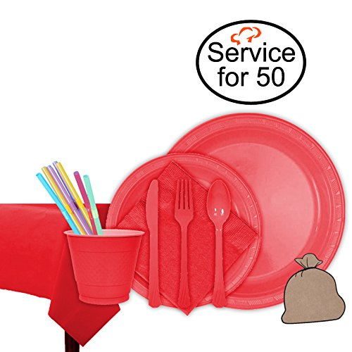 Tiger Chef Red Party Supplies Set for 50, Includes Plastic Party Plates, Plastic Cups, Napkins, Disposable Cutlery, Table cover, Straws, and Garbage Bag - Complete Party Pack
