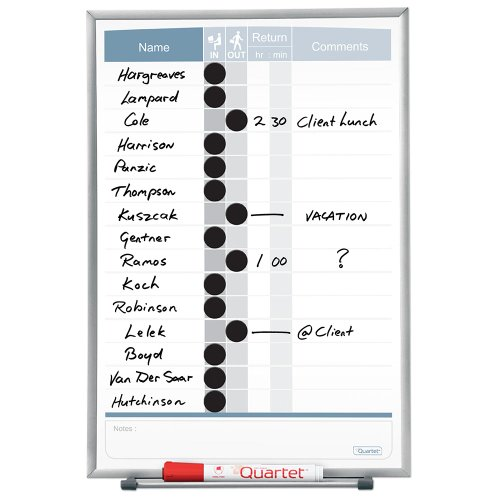 Quartet Matrix In/Out Board, 11 x 16 Inches, Magnetic, Track Up To 15 Employees (33703)