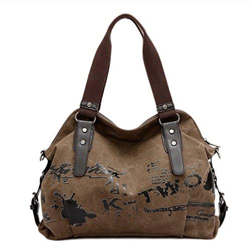 lkklily-shoulder auténtico bolsa de lona bolsas color mensajero mochila, marrón marrón