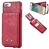 DAMONDY iPhone 7 Plus,iPhone 8 Plus, Luxury Wallet Purse Card Holders Design Cover Soft Shockproof Bumper Flip Leather Kickstand Magnetic Clasp With Wrist Strap Case for iPhone 8 Plus/7 Plus-red