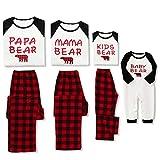 WESIDOM Christmas Family Pajamas Matching Sets,Bear Classic Plaid 100% Cotton Xmas Clothes Soft Outfit Sleepwear