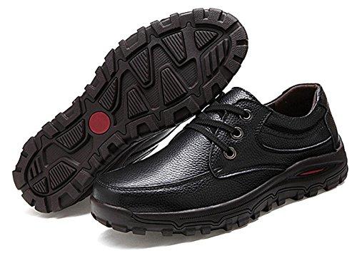 Fangsto casual lacci scarpe uomo in Black Athletic pelle da piatto Sq6YSwr8