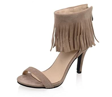 WEIQI-Sandales Femme/Glands/givré/Velours/Chaussures Romaines, Confortables/antidérapantes, Shopping/Party 6cm, 33-41, Noir, 40