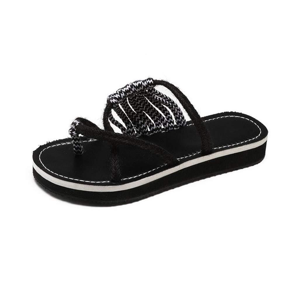 YUCH YUCH Chaussures pour Femmes Taille Été Tricotées À Plat Grande Taille Pantoufles Fraîches Été Black b53a5bc - epictionpvp.space