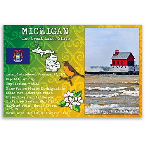 MICHIGAN STATE FACTS postcard set of 20 identical postcards. Post cards with MI facts and state symbols. Made in USA. ()