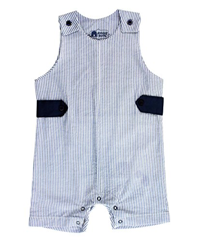 RuggedButts Infant/Toddler Boys Jon Jon Romper One-Piece Overall - Blue Seersucker - (Blue Seersucker)